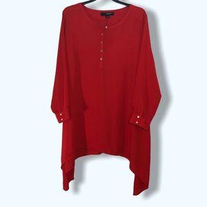 Denim 24/7 Red Handkerchief Hem Dress Sz 28W
